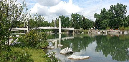Walking bridge over water